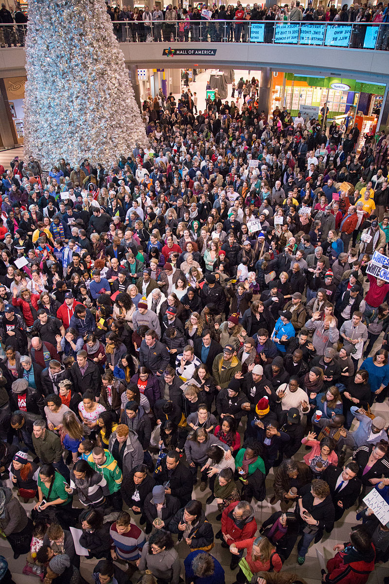"""Black Lives Matter protest, Mall of America, December 2014"" by Nicholas Upton."